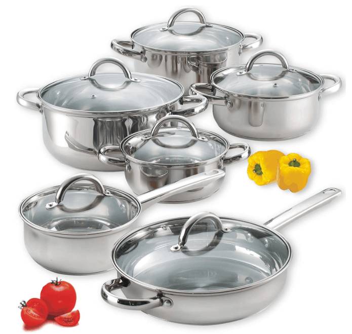 Cook N Home Stainless Steel 12-Piece Cookware Set